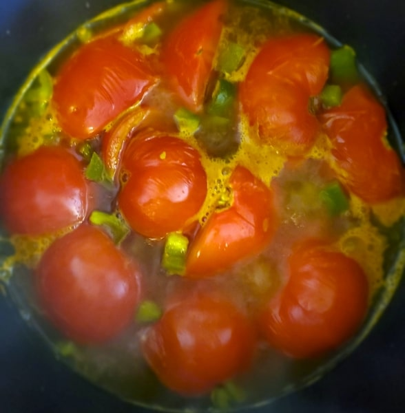 The tomatoes mostly stayed firm while stewing with spices