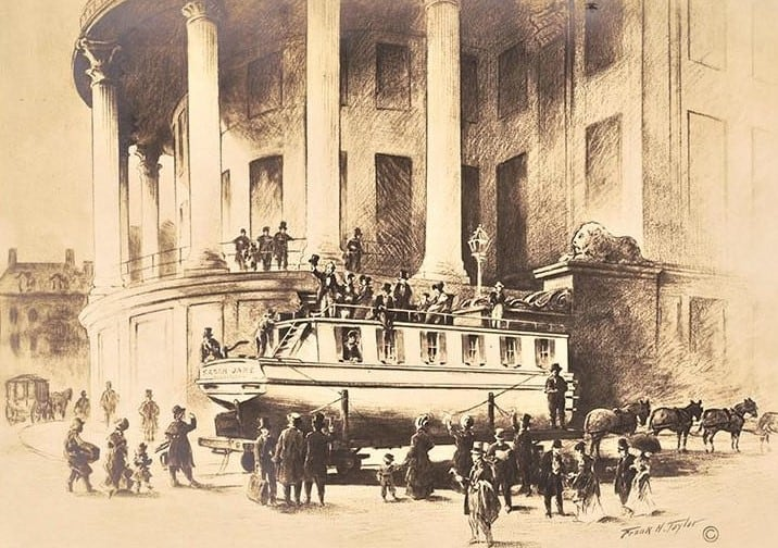 This image drawn by Frank H. Taylor shows a canal boat packed with passengers upon a horse-drawn railcar that was making its way through Philadelphia to points west. The scene was at Dock Street, by the Merchant's Exchange Building.