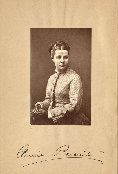 Photographic portrait of Annie Besant with signature