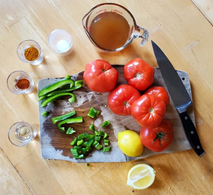 Ingredients for Indian Stew of Tomatoes from The Larder Invaded