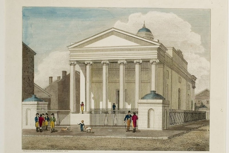 """Detail from William Russell Birch's hand-colored engraving, """"Bank of Pennsylvania, South Second Street Philadelphia, Designed & Published by W. Birch Enamel Painter 1804"""" at the Library Company of Philadelphia."""