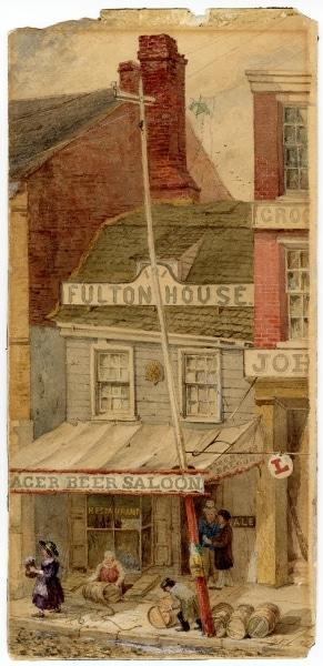 John Mackie Falconer, Fulton House, No. 121 South Second Street, Philadelphia. Watercolor, 1861.
