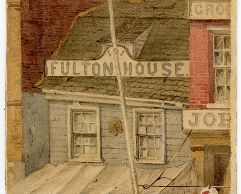 John Mackie Falconer, Fulton House, No. 121 South Second Street, Philadelphia. Watercolor, 1861.