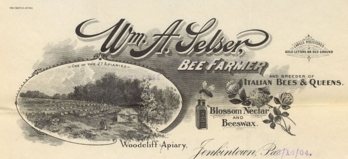 Wm. A. Selser, Bee Farmer and Breeder of Italian Bees & Queens. Blossom Nectar and Beeswax. Jenkintown, Pa. (Philadelphia: Craig, Finley & Co., ca. 1900).