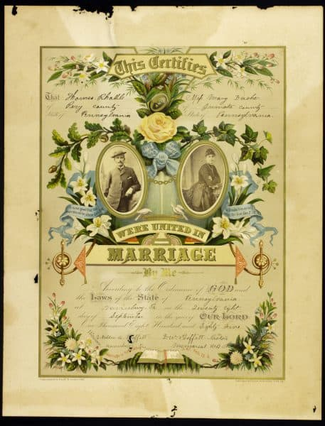 Marriage Certificate for Thomas Rhahle and Mary Dasher, chromolithograph with albumen photographs. York PA: Crider & Brother, ca. 1885. The Library Company of Philadelphia. Gift of David Doret.