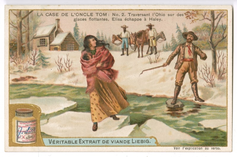 Vértiable Extrait de Viande Liebeg. La Case De L'Oncle Tom: No. 2 Traversant l'Ohio sur des glaces flottantes, Elisa échappe à Haley. Chromolithograph.