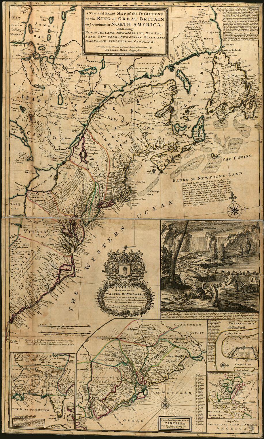 Herman Moll, Thomas Bowles, and John Bowles. A new and exact map of the dominions of the King of Great Britain on ye continent of North America, containing Newfoundland, New Scotland, New England, New York, New Jersey, Pensilvania, Maryland, Virginia and Carolina. London, 1731. Library of Congress. https://www.loc.gov/item/gm71005441/.