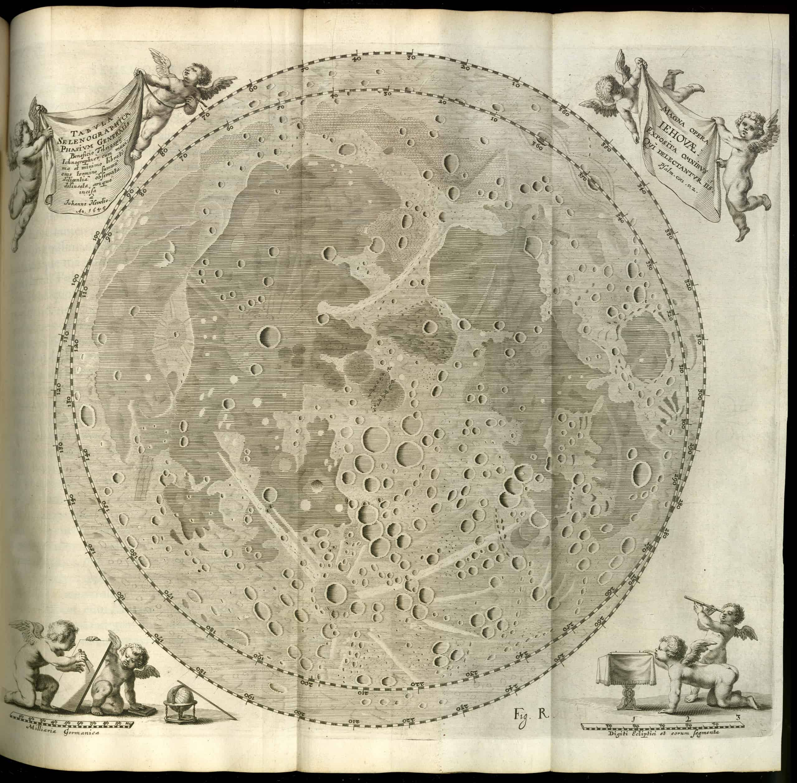 Fold out map of the moon from Johann Hevelius, Selenographia