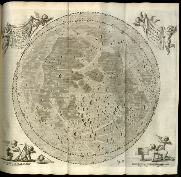 "Caption: Plate ""Fig. R"" in Johannes Hevelius, Johannis Hevelii Selenographia : Sive, Lunae Descriptio ... (Gedani: Autoris sumtibus, typis Hünefeldianis, 1647), opp. p. 262."