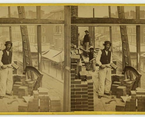 Robert Newell, American Mechanic, Arch Street below 8th, Philada., albumen print stereograph, ca. 1864.