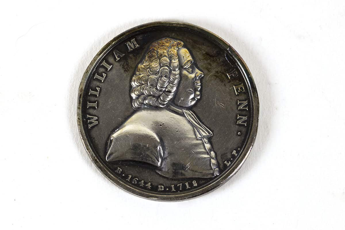 OBJ 903 recto. Lewis Pingo (1743-1830). William Penn Medal, 1775. Silver. Gift of Dr. John Fothergill, 1775.