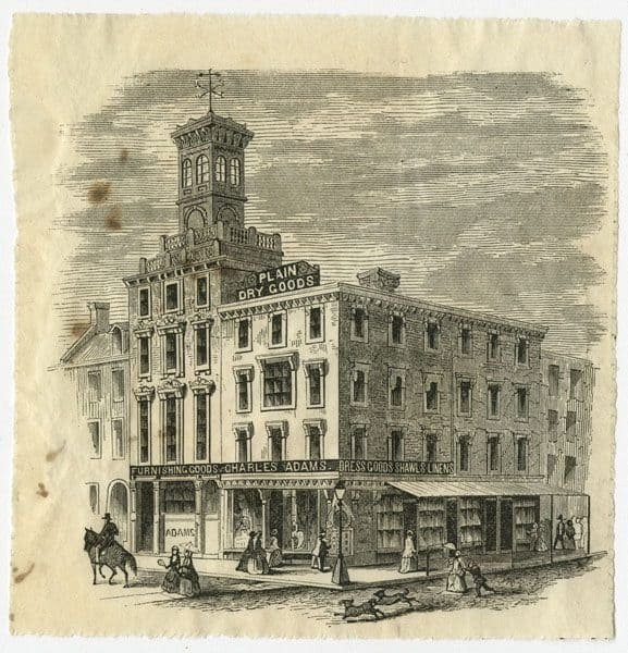 Charles Adams Dry Goods, S.E. corner Eighth and Arch Streets, ca. 1860