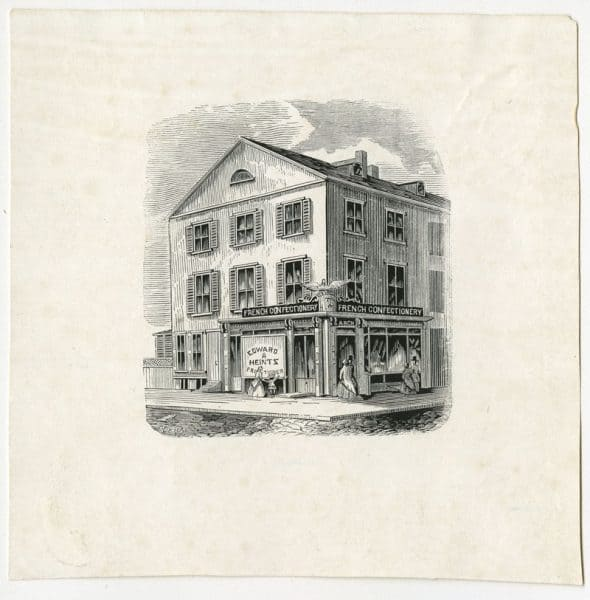 Edward Heintz French Confectionery, S.W. corner Ninth and Arch Streets, ca. 1860.