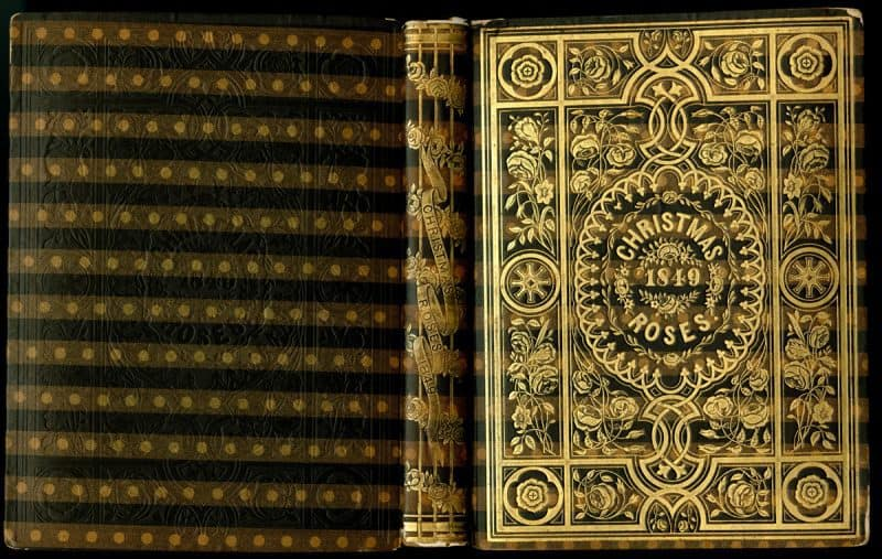 A particularly ornate Bradley-bound book using my favorite of Bradley's bookcloths. This binding features gold blocking on the front cover and spine, and blind blocking on the back cover.
