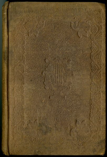 Most copies of Six Months in a Convent feature the same ornamental stamping shown in the images above. This copy features Bradley's lyre stamped on the front cover.