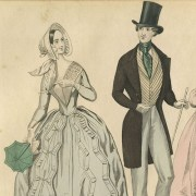 Detail from fashion plate, Graham's Magazine, July 1842. Right, Anton Hohenstein. Franklin's Reception at the Court of France, 1778. Philadelphia: John Smith, ca. 1869. Lithograph.