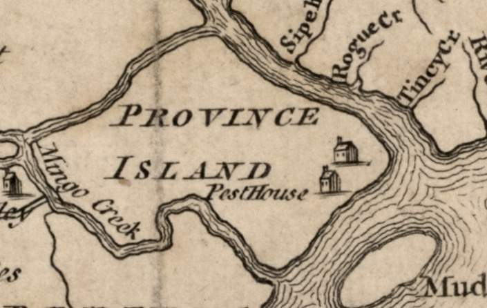 Detail of the pest house on Province Island from A map of Philadelphia and parts adjacent, from Gentleman's Magazine, vol. 23, 1753 p. 373.