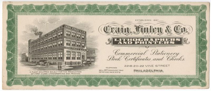 Craig, Finley & Co. Lithographers and Printers (Philadelphia: Craig, Finley & Co., ca. 1930). Photomechanical print.