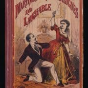 Book cover depicting a women holding a knife over a man. Arthur Martine, Martine's Droll Dialogues and Laughable Recitations (New York: Dick & Fitzgerald, 1870?). Cover illustration.