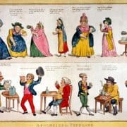 Etching and watercolor depicting satirical scenes of people drinking alcohol, 1804. William Charles, sculp. and G.M. Woodward, del., Apologies for Tippling (London, ca. 1804). Etching and watercolor.