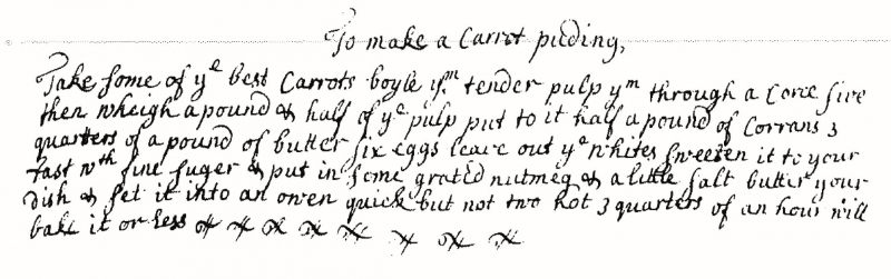 Anne Toller's carrot pudding recipe 1699