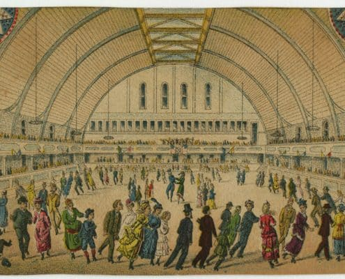 Trade card for the Philadelphia Roller Skating Rink. (ca. 1881). Chromolithograph.