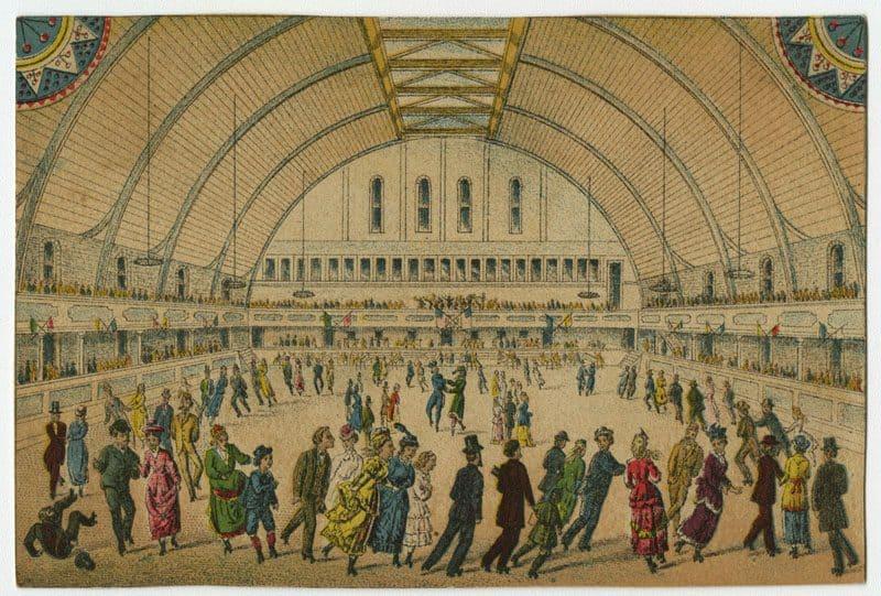 Trade card for the Philadelphia Roller Skating Rink. (ca. 1881). Chromolithograph.