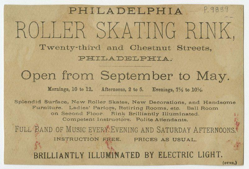 Verso of trade card for the Philadelphia Roller Skating Rink.