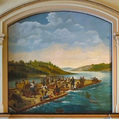 Mural depicting Edward Coles granting freedom to 16 enslaved people