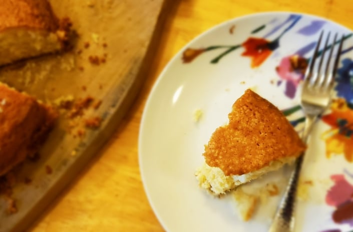 A slice of Barnard Cake, served