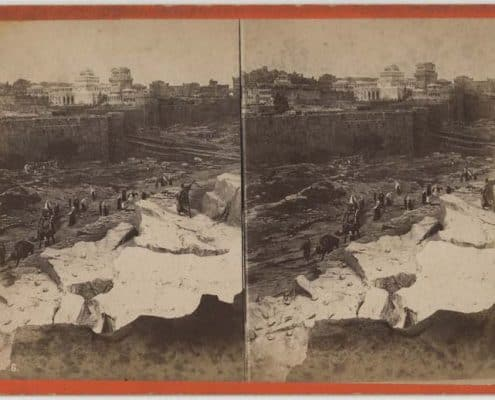 """R. Newell & Son, """"Herod's Palace and Towers,"""" No. 6 in Cyclorama of Jerusalem and the Crucifixion. Broad and Cherry Sts., Philadelphia. Albumen print on stereograph mount. Recto."""