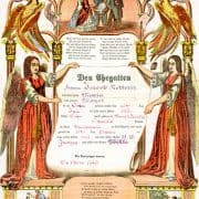 Geburts und Taufschein [Baptism certificate] (Allentown, Pa.: Leisenring, Trexler and Company, ca. 1865) Color wood engraving.
