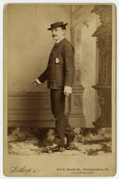 [David] Lothrop, Man on Roller Skates. (Philadelphia, ca. 1890). Albumen print cabinet card.