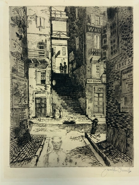Joseph Pennell, Water Street Stairs (Philadelphia). Etching. Two shadowy figures stand at the top of an alley stairway in background, alley has many bills posted, man in sailor outfit in the bottom foreground.